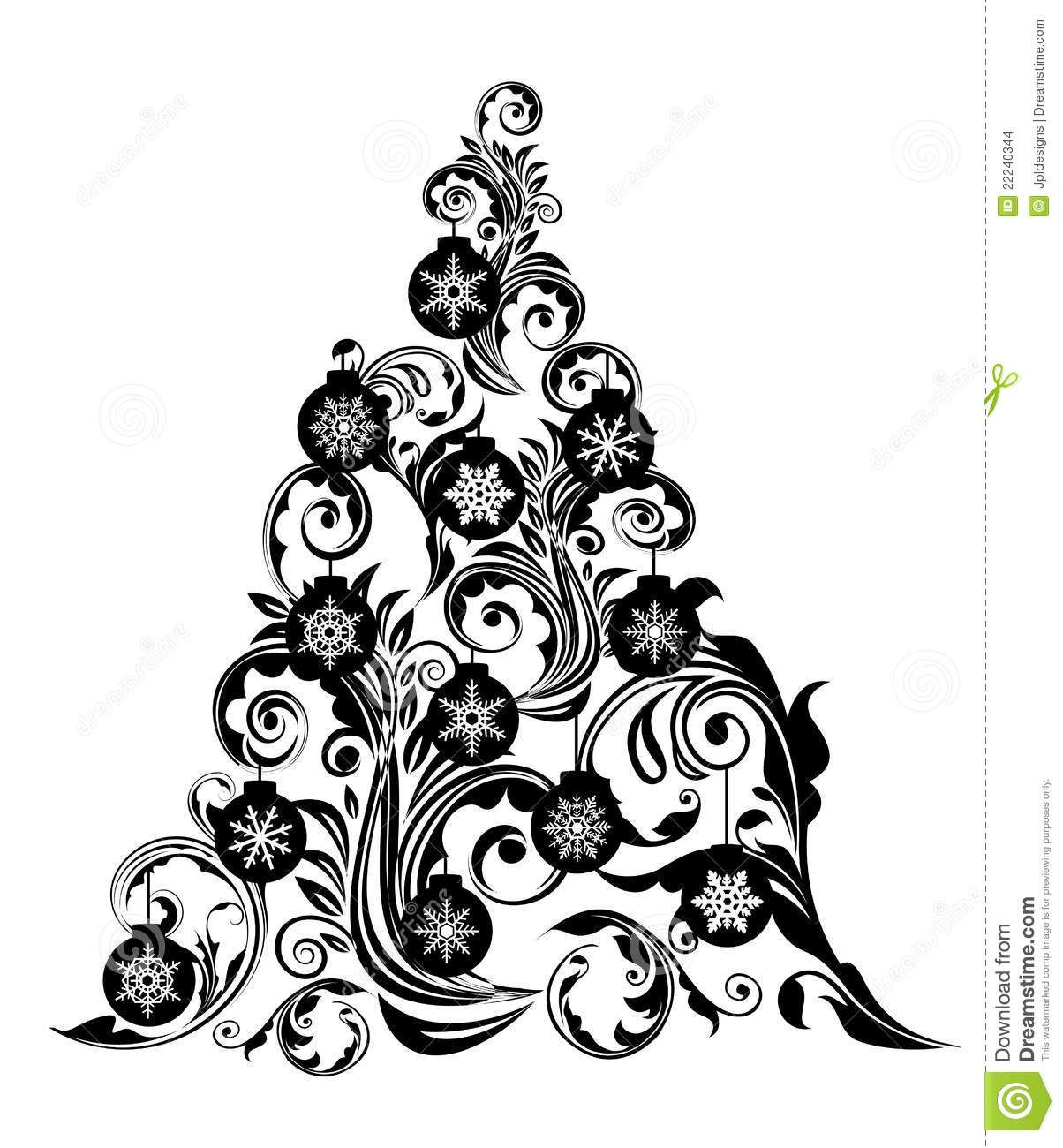 Christmas Tree Leaf Swirls Design And Ornaments Christmas Tree Clipart Christmas Tree Silhouette Christmas Tree Pictures