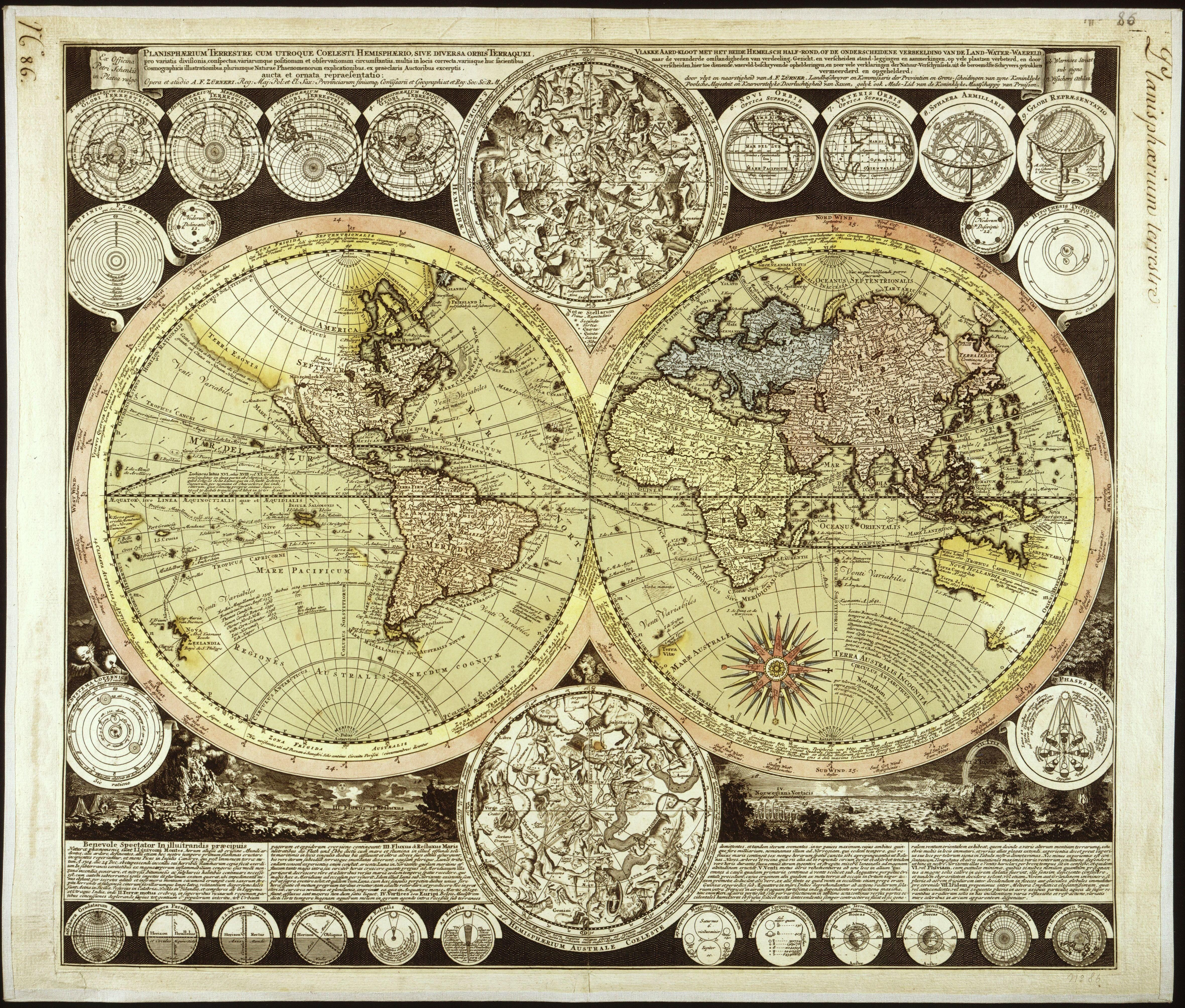 Map of the world and celestial bodies, by Adam Friedrich Zuerner ...