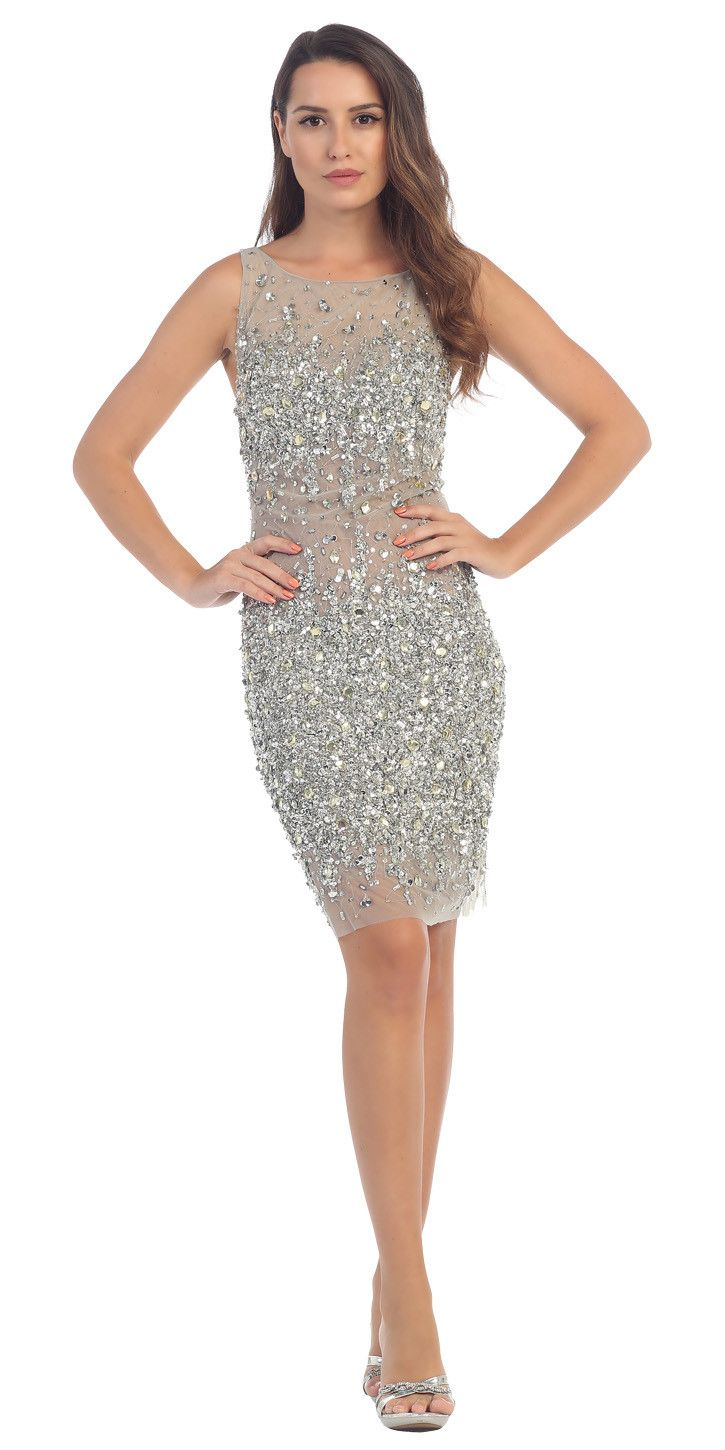 Starbox USA S6075 Bateau Neck Crystals Encrusted Body Con