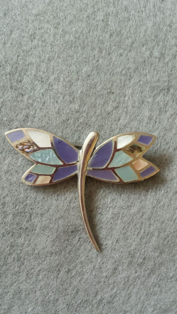 Vintage Sterling Silver Dragonfly with Inlaid lays