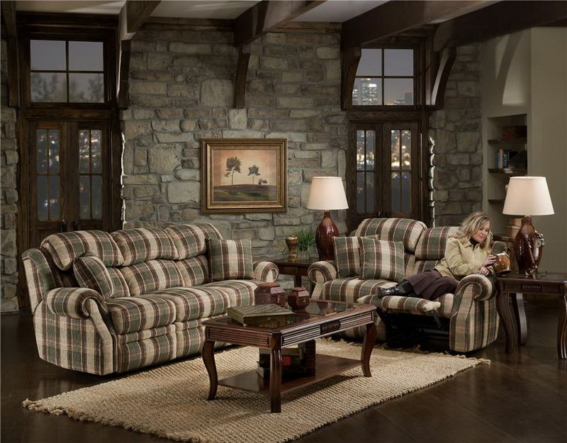 Living Room With Rustic Interior Designs With Stone Wall Decoration Picture