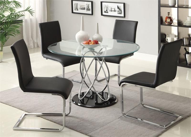 48 Aina I Round Glass Table Set 48 Glass Table With 4 Chairs Contemporary Glass Dining Table Round Dining Table Sets Contemporary Dining Room Sets