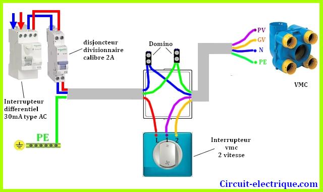 Branchement Vmc Avec Interrupteur 2 Vitesse Va Et Vient Branchement Vmc Circuit Electrique Projets Electriques