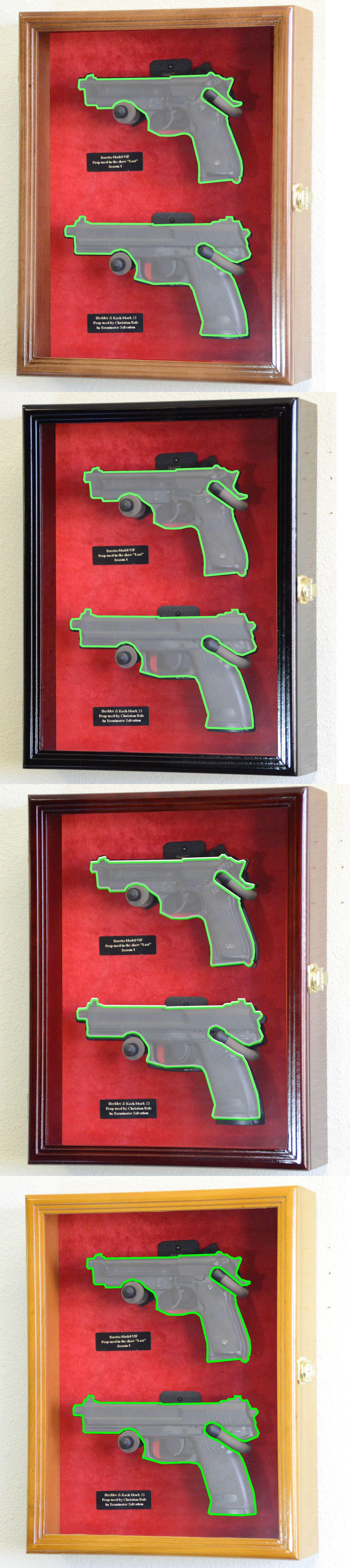Double pistol handgun revolver gun display case cabinet rack shadowbox - Shadow Boxes 41512 Large Double Pistol Handgun Revolver Gun Display Case Cabinet Rack Shadowbox