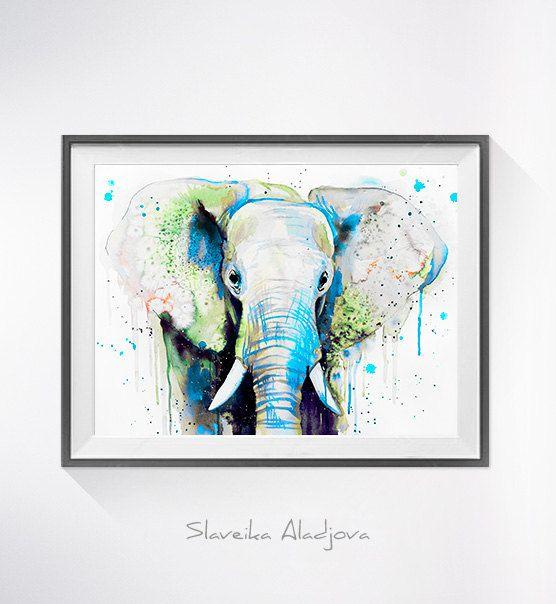 Green Elephant Head Aquarell drucken Elephant Kunst von SlaviART