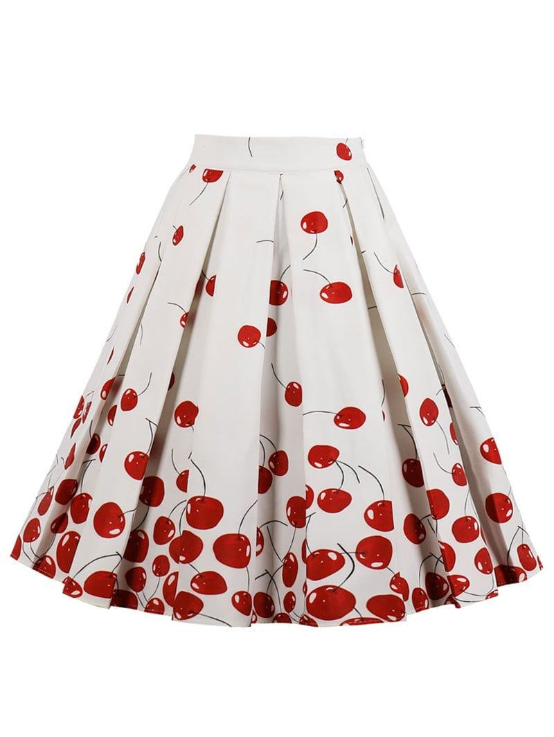 High rise cherry print midi a line skirt in dress shop