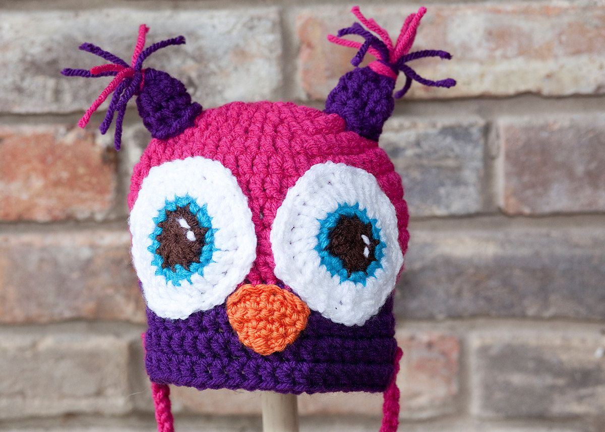 Crochet Owl Hat - Hot Pink, Purple, Orange and Teal with pompom ties ...