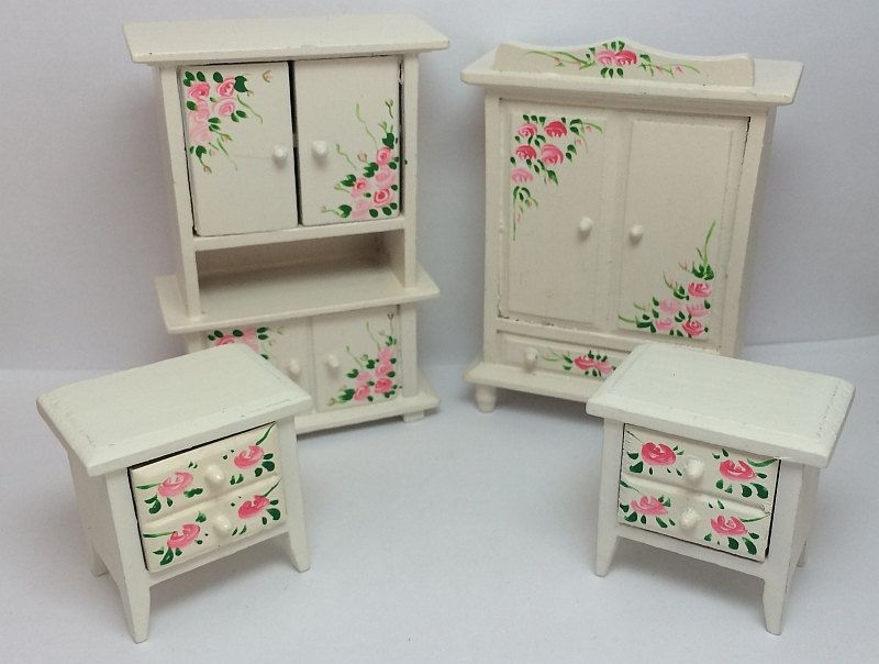 Dollhouse 1//12 Scale furniture Classical model white painted bedroom wardrobe