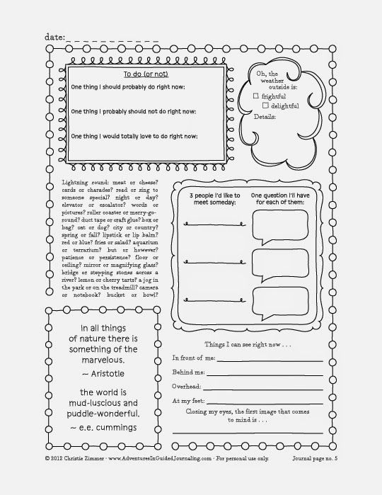 Adventures in Guided Journaling: Printable Journal Pages. Several ...