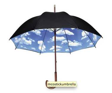 The Umbrella designed by Tibor with a clear blue sky design on the interior.