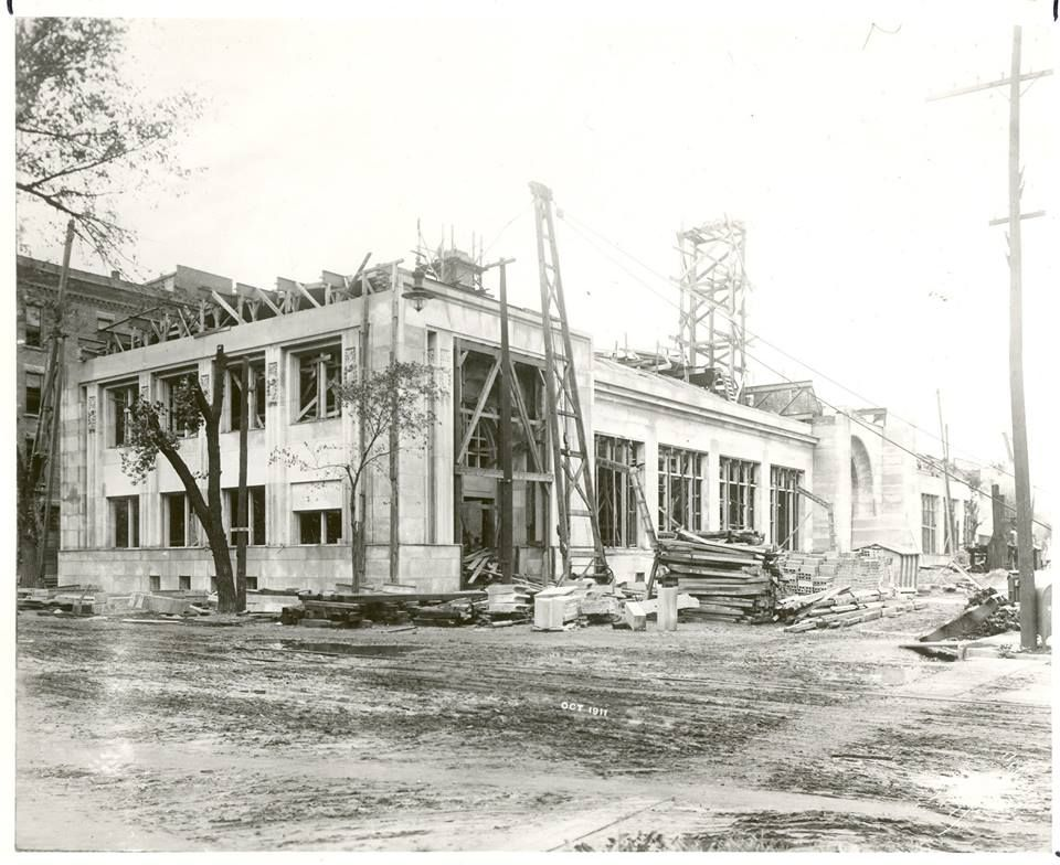 Construction of the J.R. Watkins Adminisration Building on