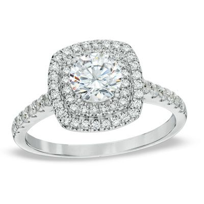tw diamond square double frame engagement ring in 14k white gold - Wedding Rings Zales