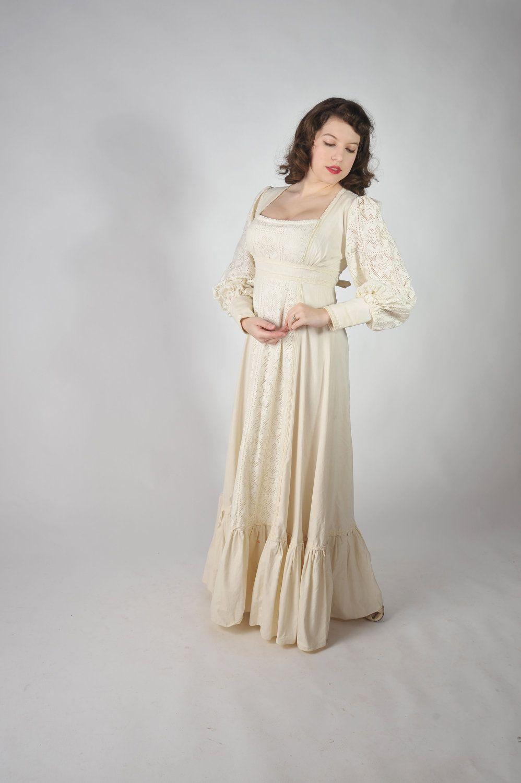 Gunne sax wedding dress  Vintage s Wedding Dress  Gunne Sax Romantic Bohomian Wedding Dress