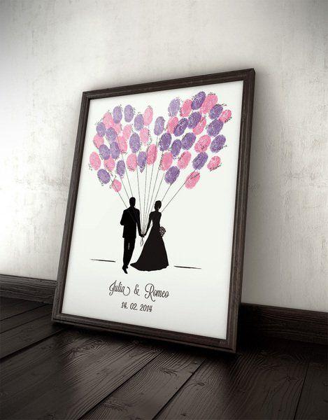 Hochzeitsgästebuch – Gästebuch Ballons, Hochzeit, Fingerprints, Wedding – ein …