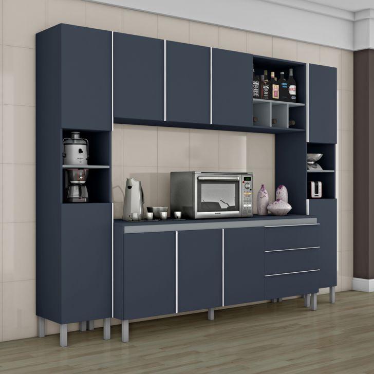 Cozinha Completa Nice Ii 8 Pt 3 Gv Azul E Cinza Moveis Cozinha