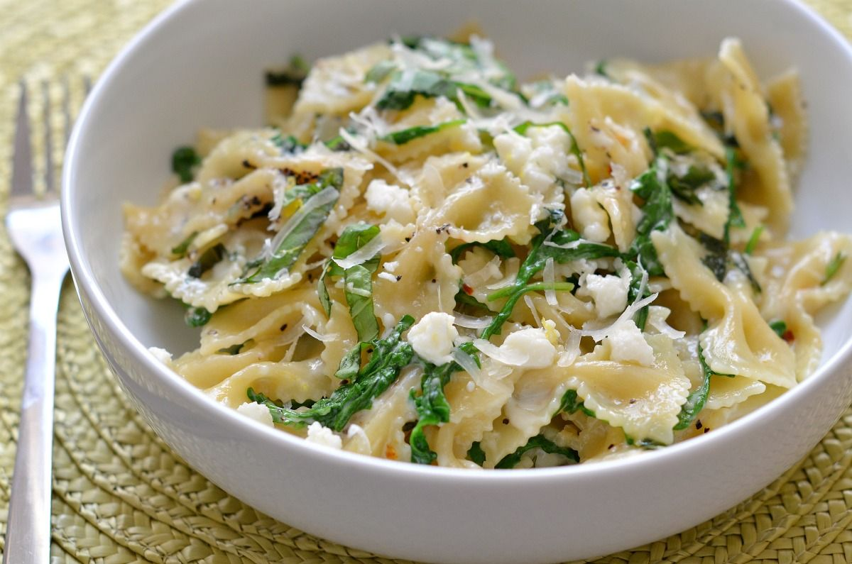 Lemon and Arugula Farfalle with Feta and Basil from @Three Many Cooks
