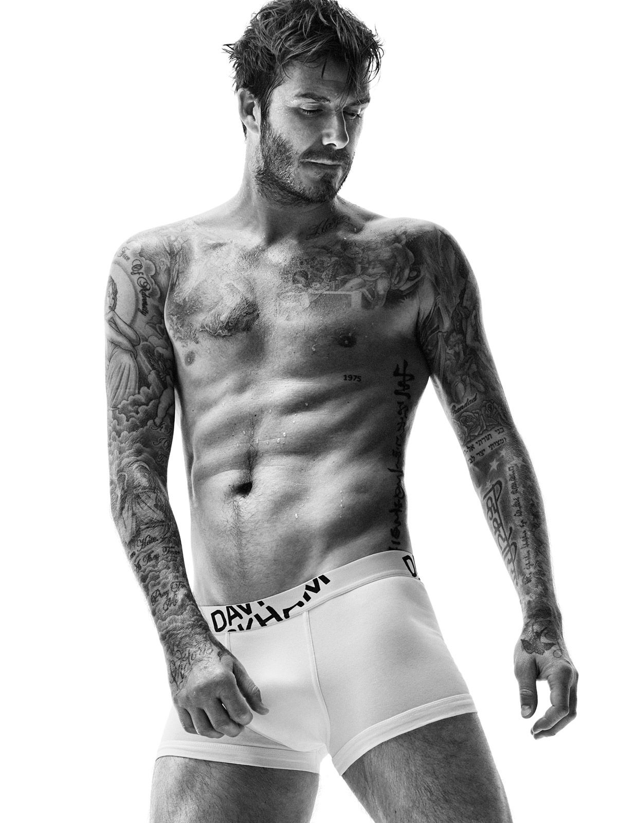 David beckham shows off ripped abs sexy tattoos in new underwear campaign pictures
