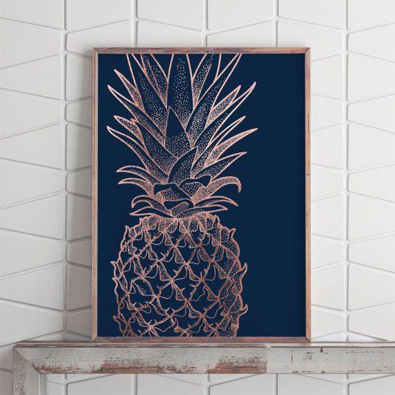 Pineapple Print Art, Rose Gold Pineapple Decor, Rose Gold Wall Decor ...