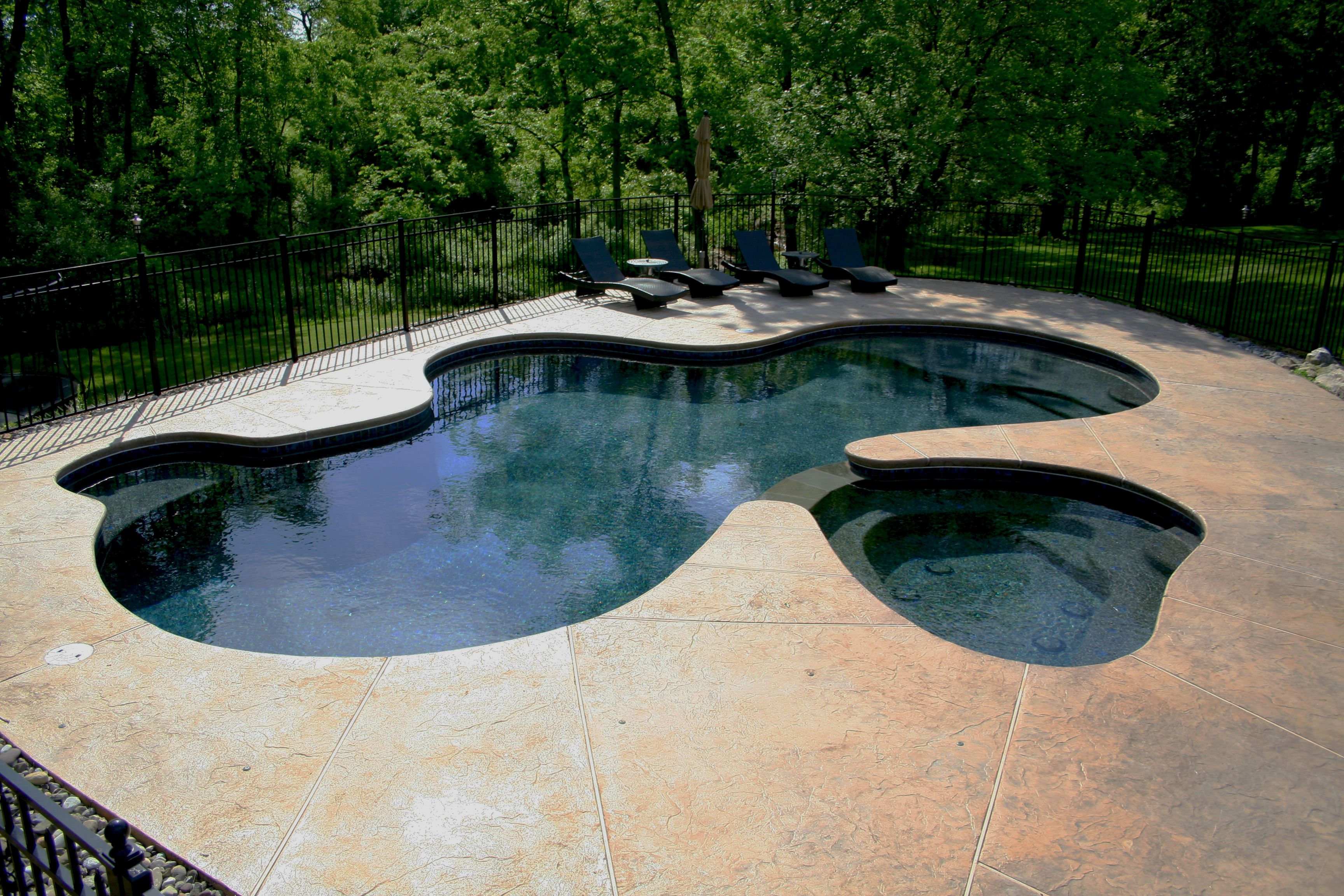 Swimming Pool Plastering Contractors : Free form in ground concrete gunite plaster pool spa combo