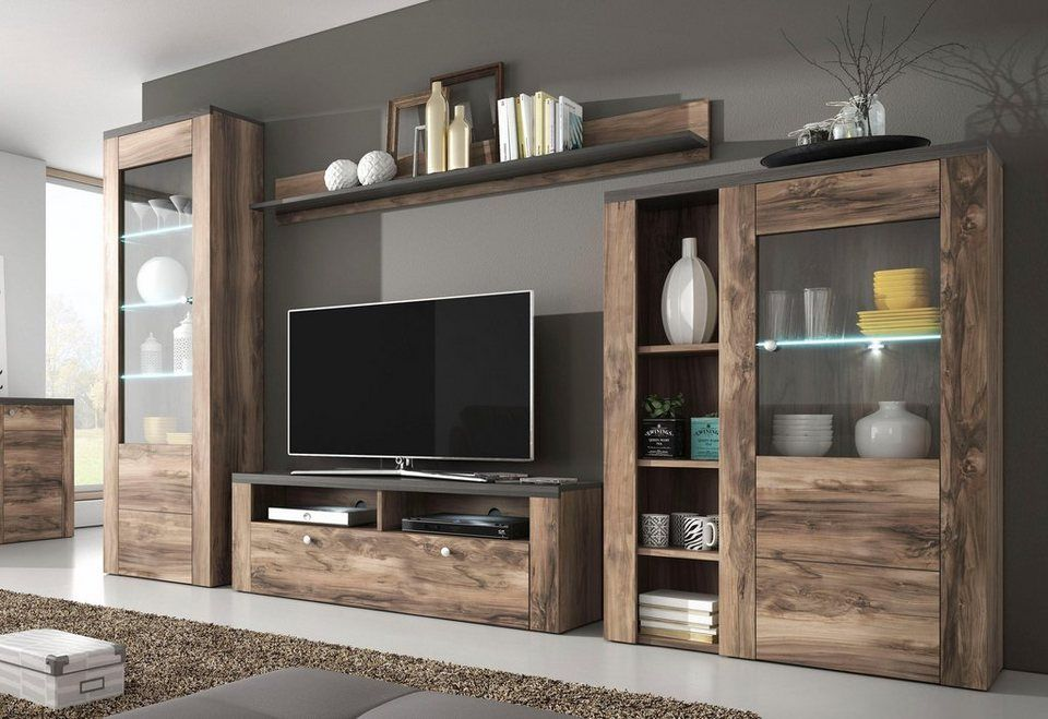 Trendmanufaktur Wohnwand Set 4 Tlg Fsc Zertifizierter Holzwerkstoff Online Kaufen Wohnzimmer Tv Wand Ideen Wohnen Wohnzimmer Tv