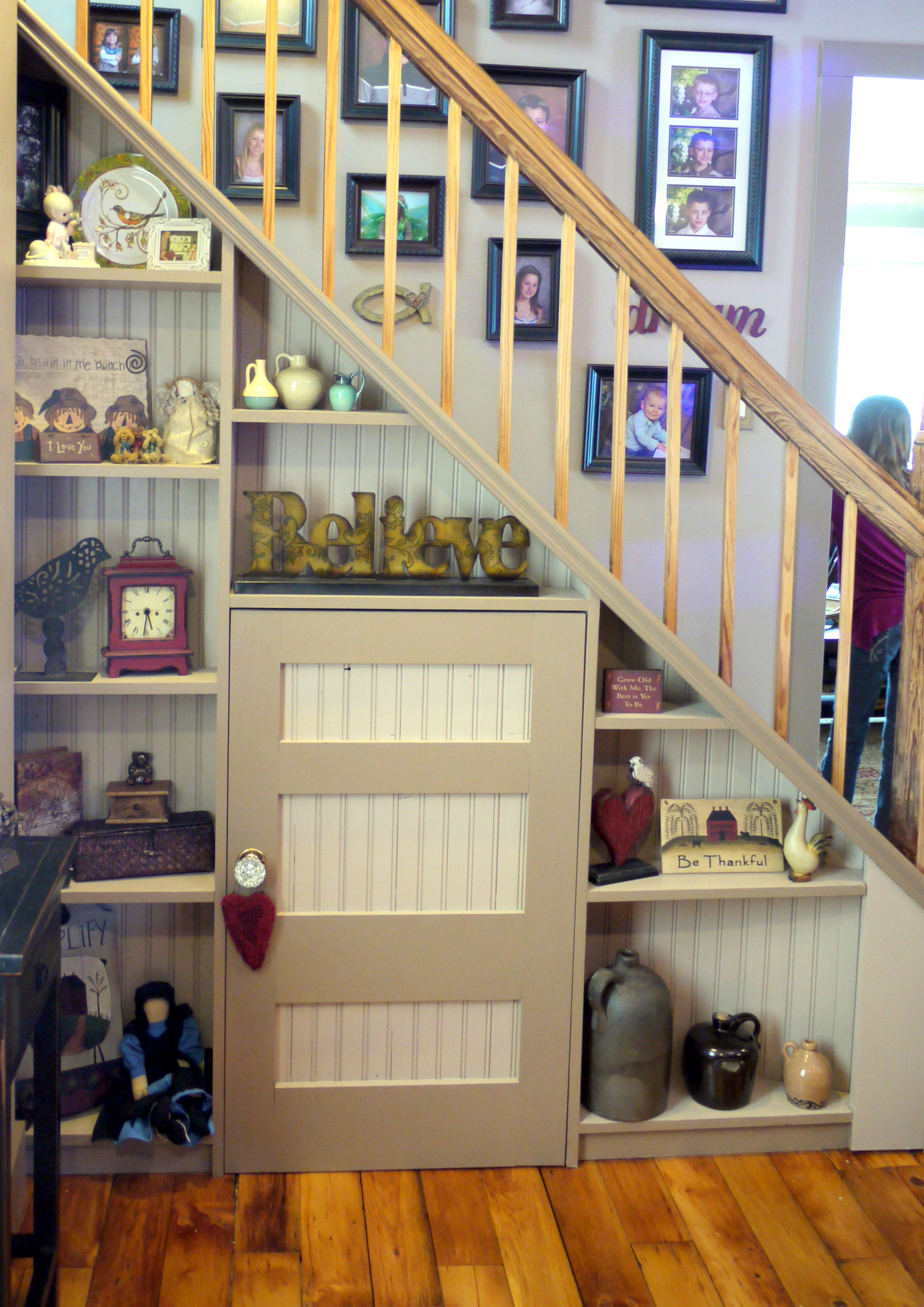 Stairs Shelving Shelves And Door For Access Under Stairs Decorating