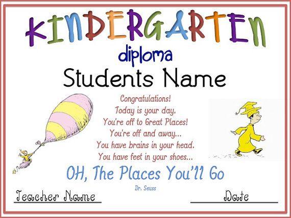 Kindergarten Graduation Diploma By Missykaye On Etsy