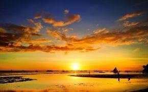 tramonto, spedire, persone, mare, ricreazione, pesce vela