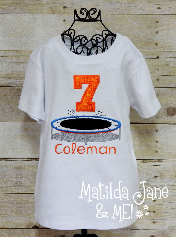 Birthday Trampoline Appliqued Number Children's Shirt Boys or Girls Birthday Celebration Shirt Personalized Free,Birthday Celebration Shirt by ThePerfectWallet on Etsy