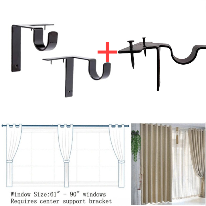 Last Day Promotion 50 Off No Drill C In 2020 Easy Hanging Curtains Wooden Window Frames Curtain Rod Brackets