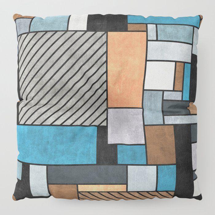 Floor Pillow // Random Concrete Pattern - Blue, Grey, Brown