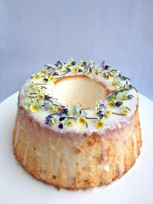 Angel Food Cake With Sour Cream Glaze Sour Cream Cake Edible Flowers Recipes Angel Food