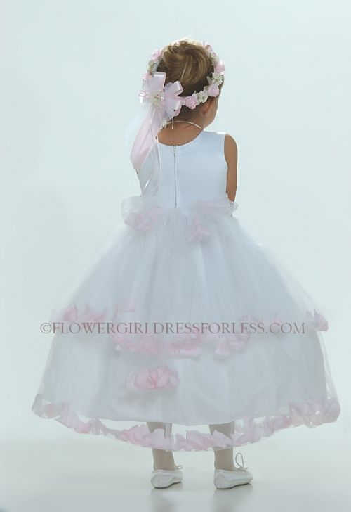 9096119c9d Flower Girl Dress-5251 White Sleeveless Double Layer Satin And Tulle with Pink  Petal Dress