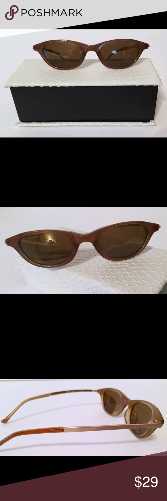 948464acb6 Authentic vintage Oscar de la RENTA sunglasses Vintage Oscar sunglasses  slight cat eye shape. Brown