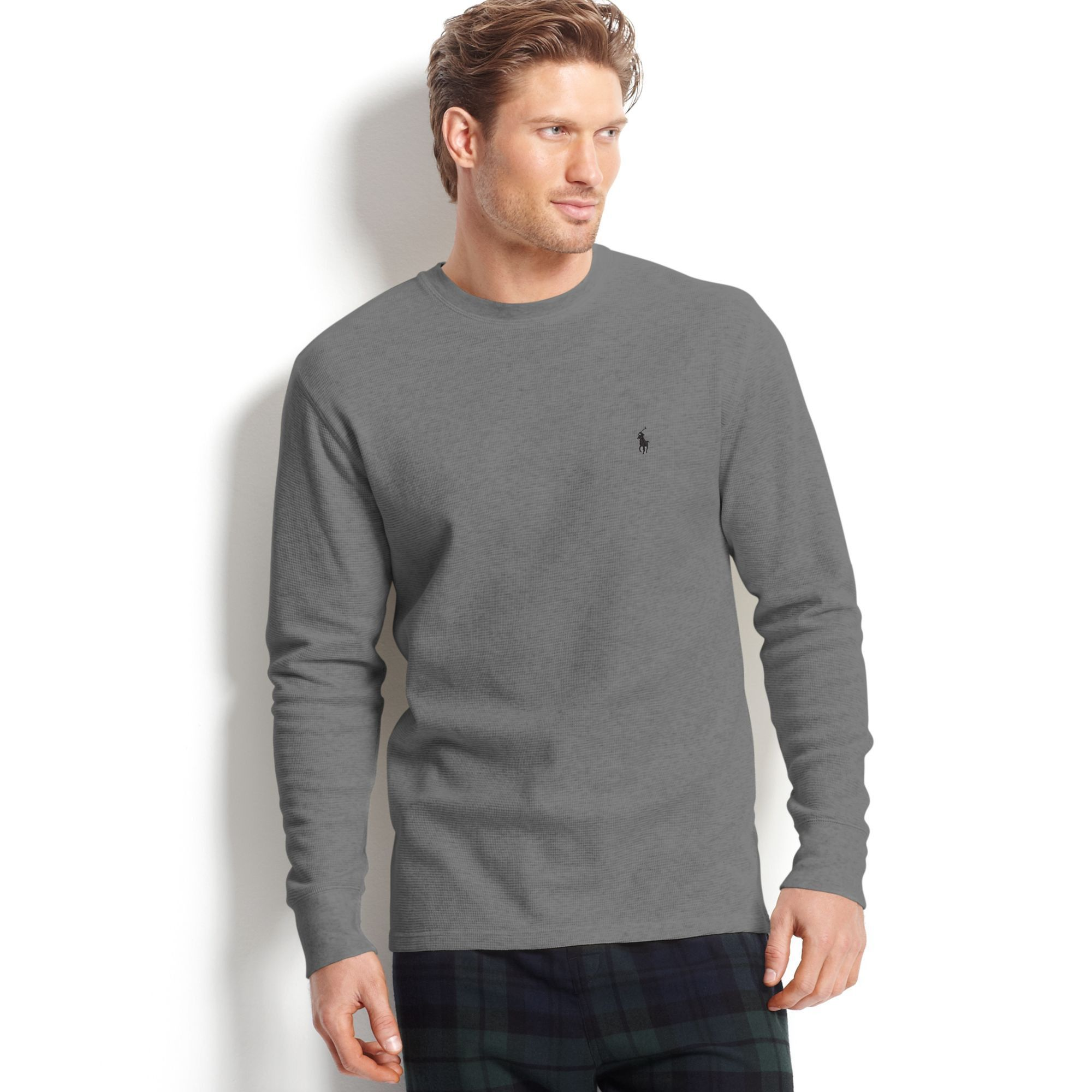 3e39b53a Polo Ralph Lauren Waffle Knit Crew Neck Top, L, Charcoal Heather ...