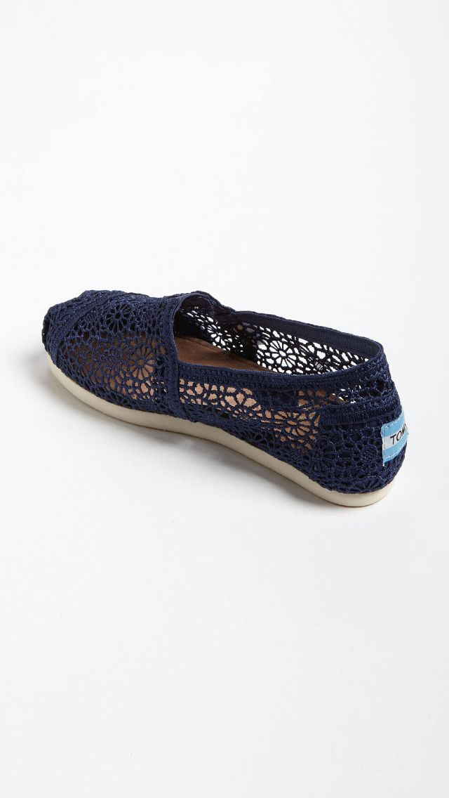 See Through Lace Navy Blue TOMS   Blue