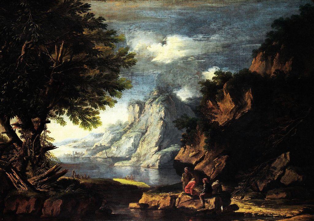 Salvator Rosa Napoli 16151673  Paesaggio con pescatori e viaggiatori  16551660