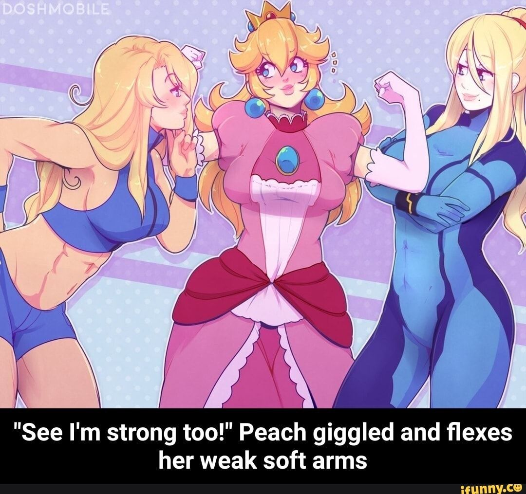 See I M Strong Too Peach Giggled And Flexes Her Weak Soft Arms