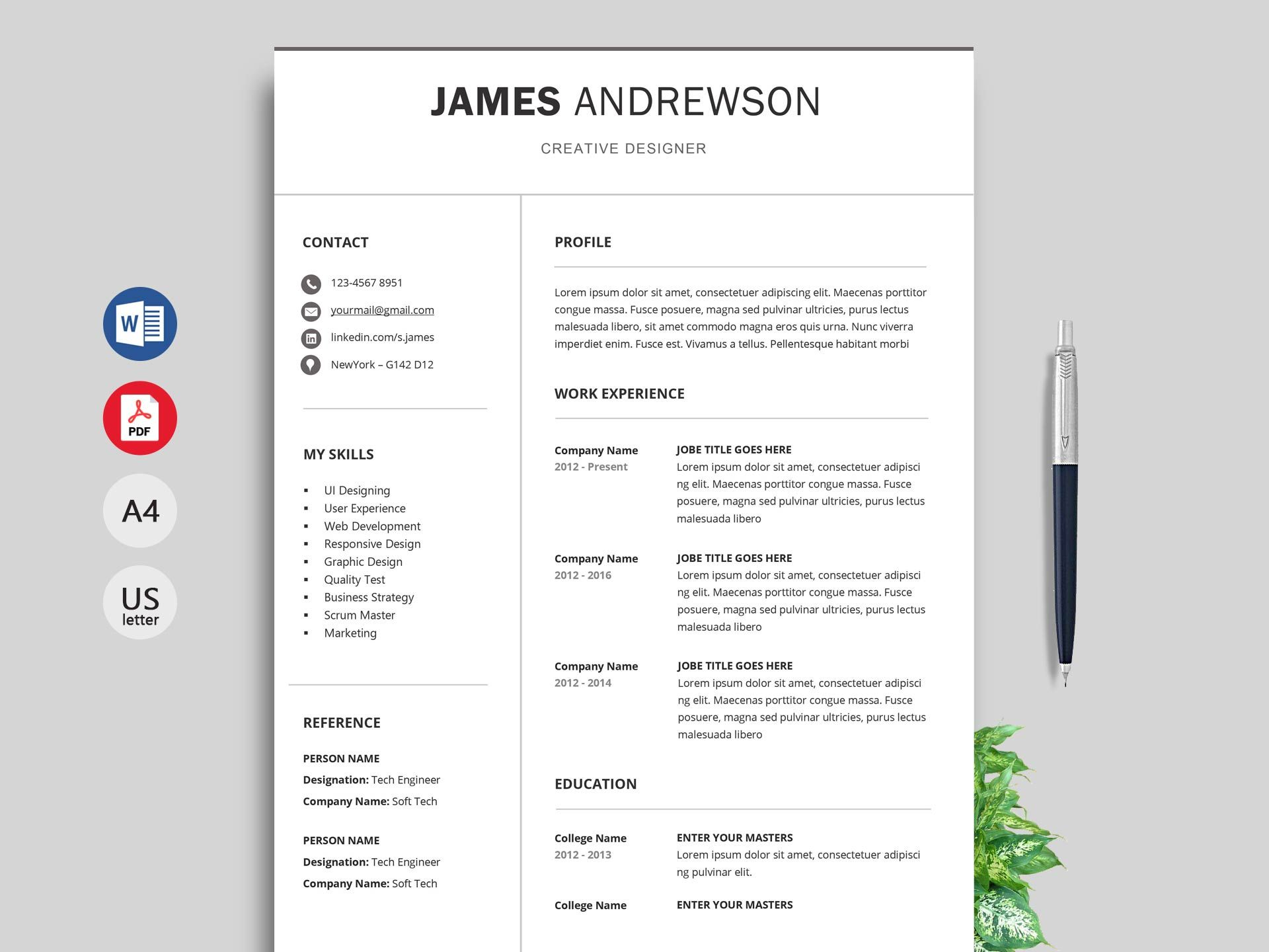 Free Simple Resume & Cv Templates Word Format 2020 in 2020