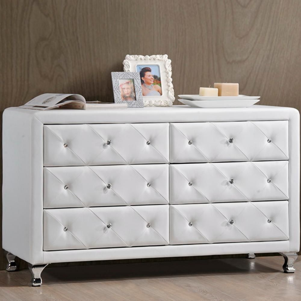 Enzo Modern And Contemporary Faux Leather 6 Drawer Dresser