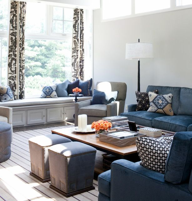 Living Room Redo Revere Pewter Walls With Navy Accents