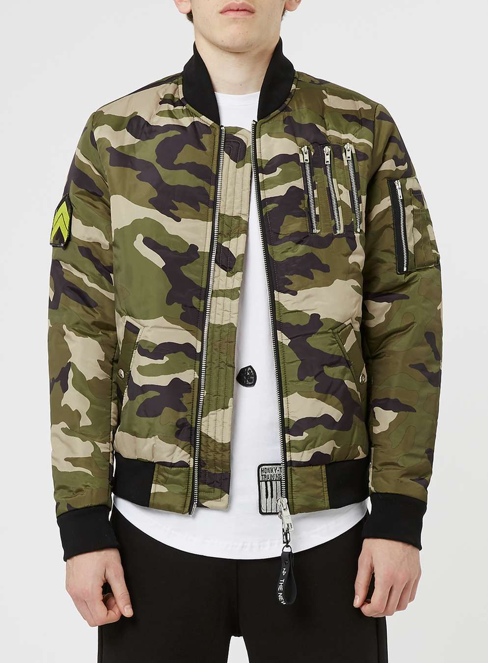 The New Designers Green Camo Padded Ma1 Jacket Topman