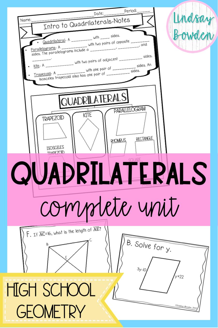 Quadrilaterals Unit Bundle Geometry lessons, Secondary