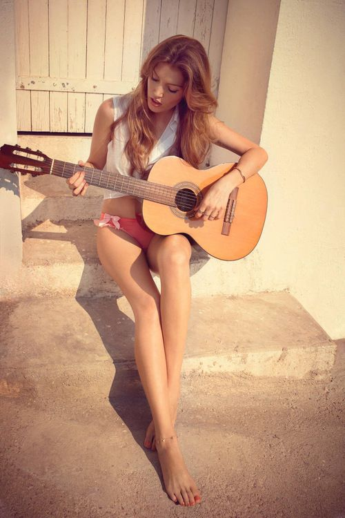 guitar girl play music with your heart and soul singing