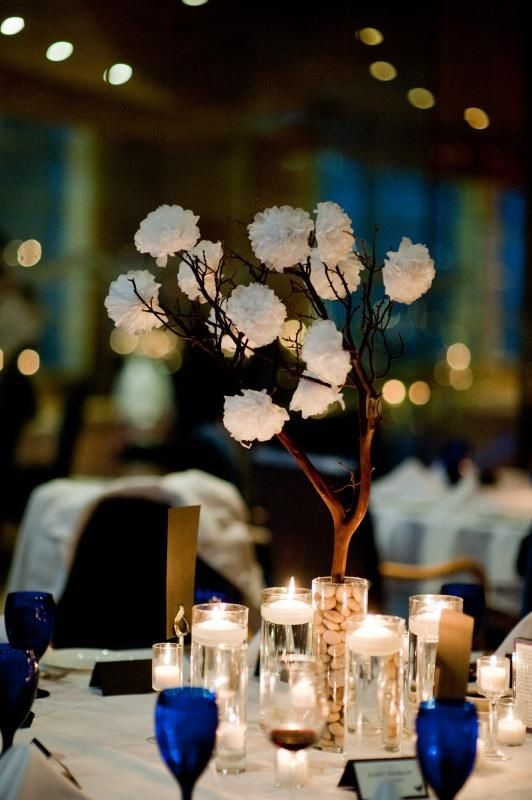 The Diy Tissue Paper Carnations Were Placed On Manzanita Branches For Centerpieces It Was
