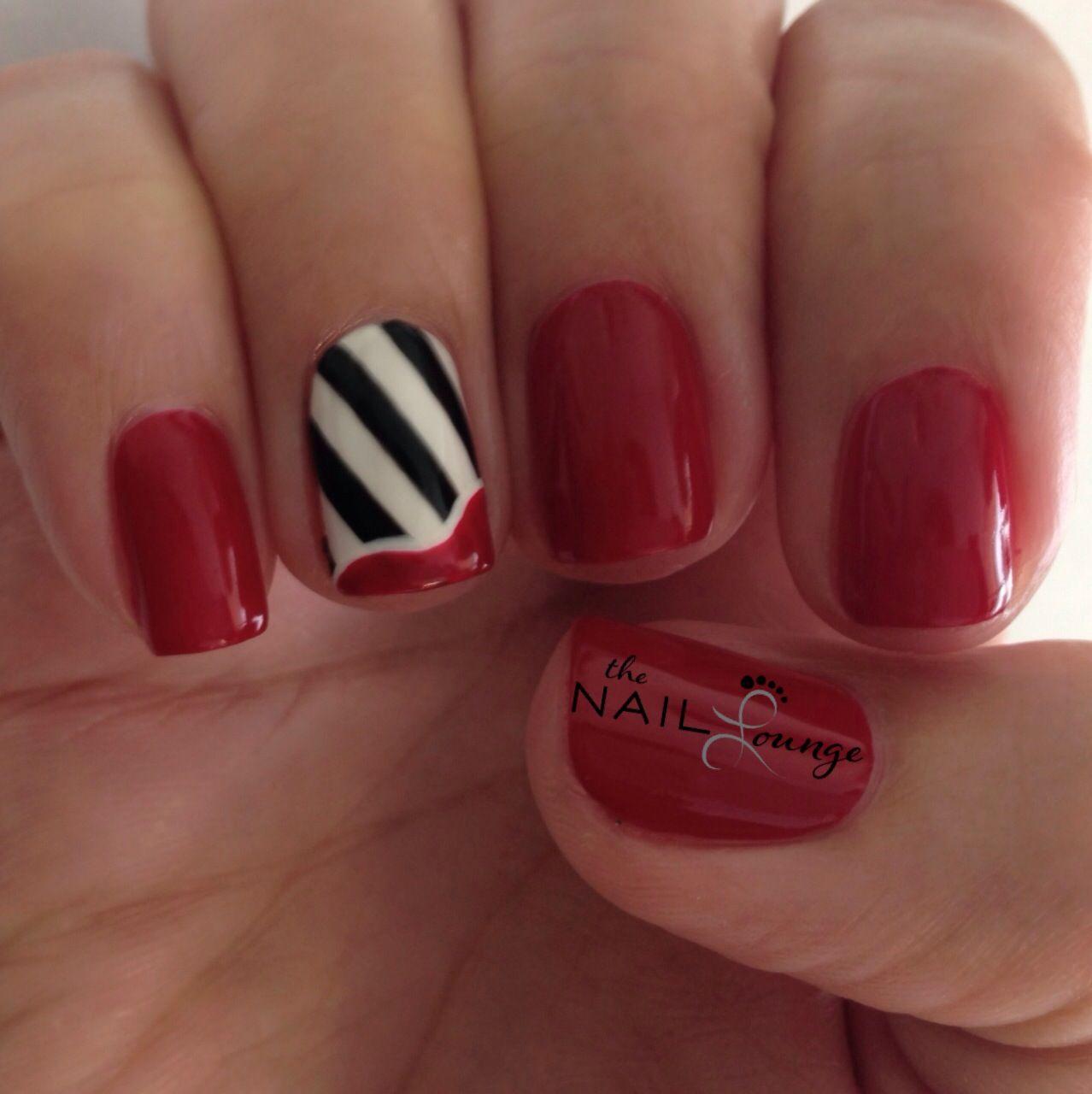 Red Black White Stripes Gel Nail Art