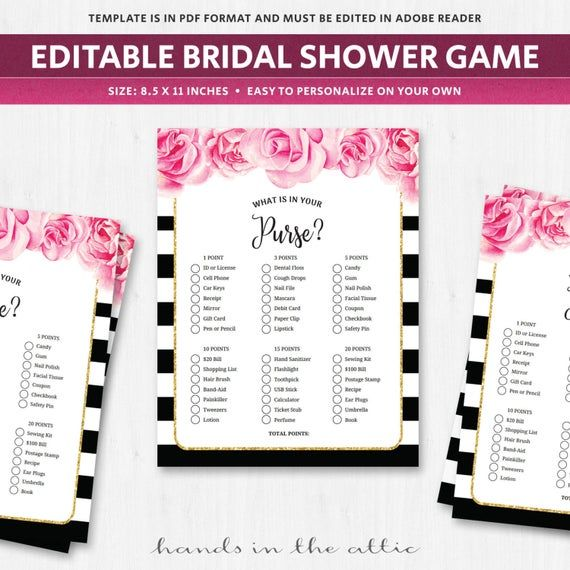 Whats in your purse wedding shower game editable template questions quiz game bridal shower…