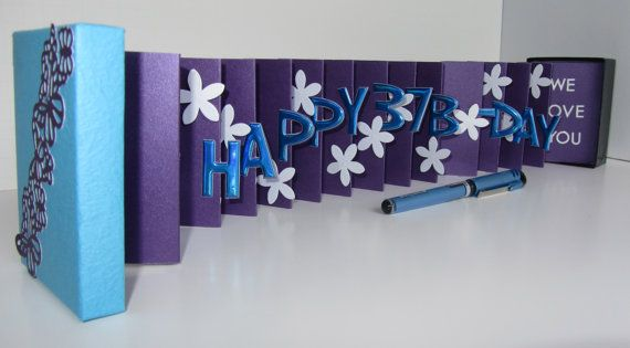 Happy 37th Birthday Wishes Pop Up Accordion Book Card In A Box