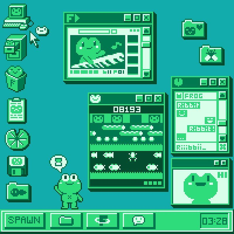 Paul Robertson On Instagram Frog S Desktop Frogdecember Frog Pixel Pixels Pixelart Pixel Art Design Pixel Art Pixel Art Landscape