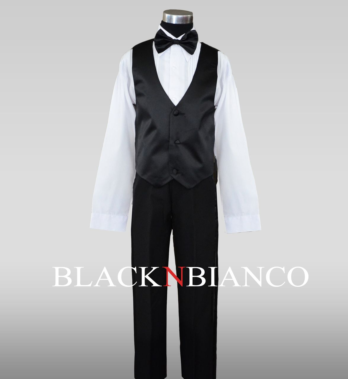 90577deb1d Boys Black Tuxedo Dress Suit with Red Long Neck Tie | Boys Tuxedos ...