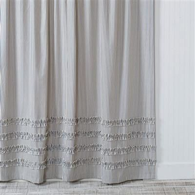 Ticking Stripe Ruffle Shower Curtain Navy Blue Ruffle Shower Curtains Ticking Stripe Curtains Striped Shower Curtains